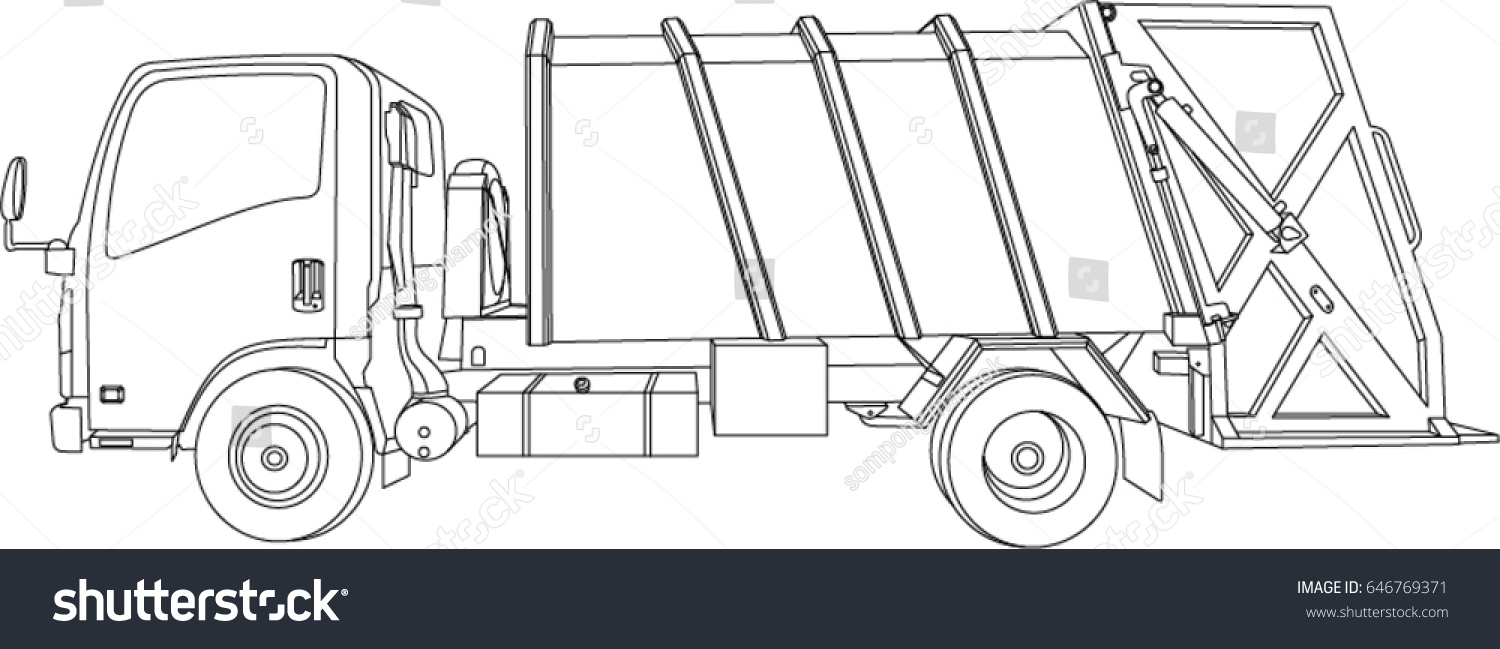 Vector Garbage Truck Hand Drawn Isometric Left Side