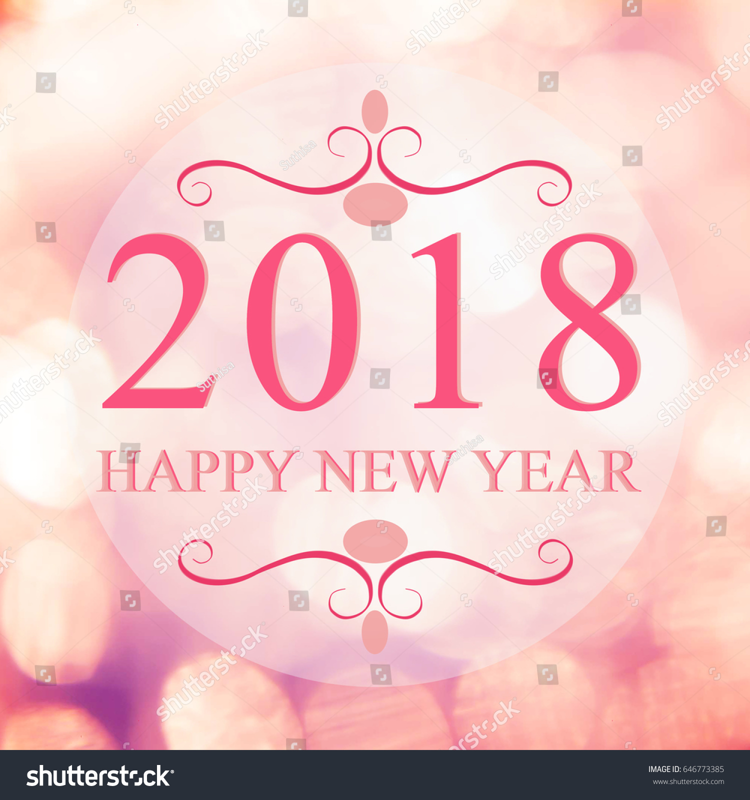happy new year 2018 year on beautiful blur background shopping mall and bokeh pink tone