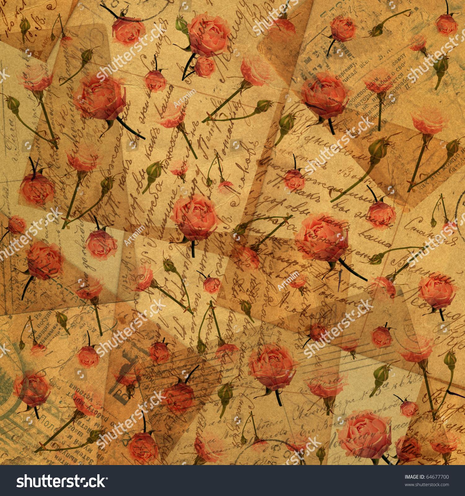 Vintage Paper Flowers Background Scrapbooking Stock Photo Edit Now