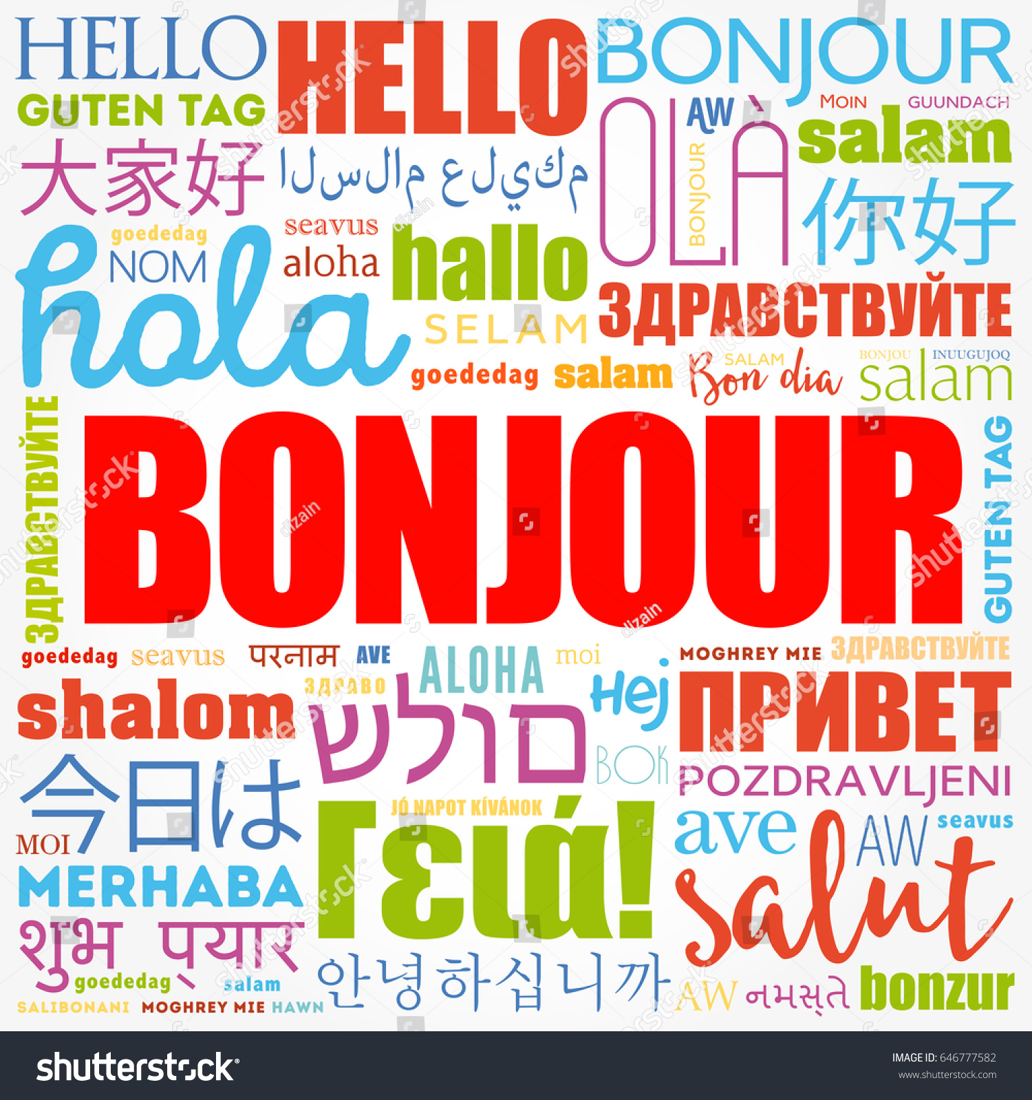 Bonjour hello greeting french word cloud stock vector 646777582 bonjour hello greeting in french word cloud in different languages of the world kristyandbryce Image collections
