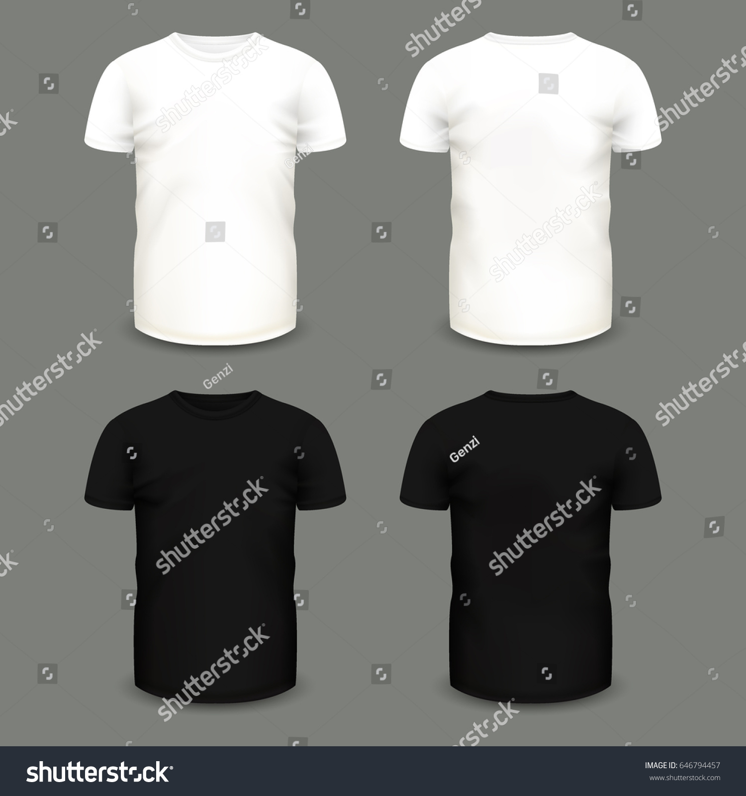 Black t shirt vector template - Set Of Men S White And Black T Shirts In Front And Back Views Volumetric