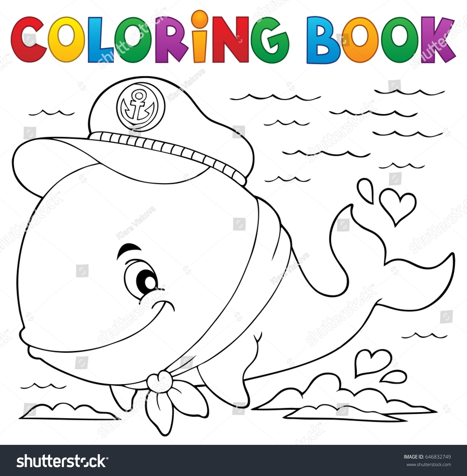 Coloring book whale - Coloring Book Sailor Whale Theme 1 Eps10 Vector Illustration