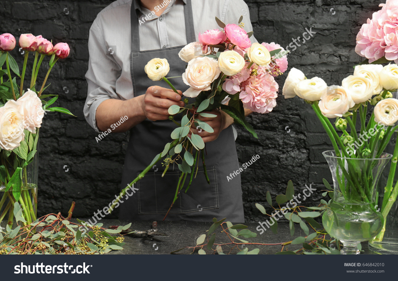 Male Florist Creating Beautiful Bouquet Flower Stock Photo (Edit Now ...