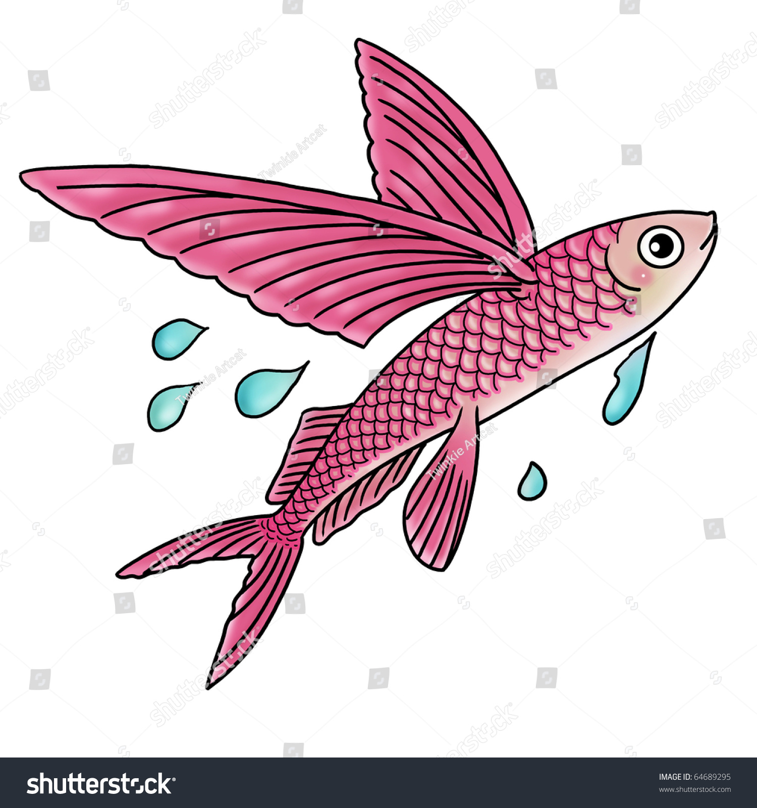 cartoon illustration flying fish stock illustration