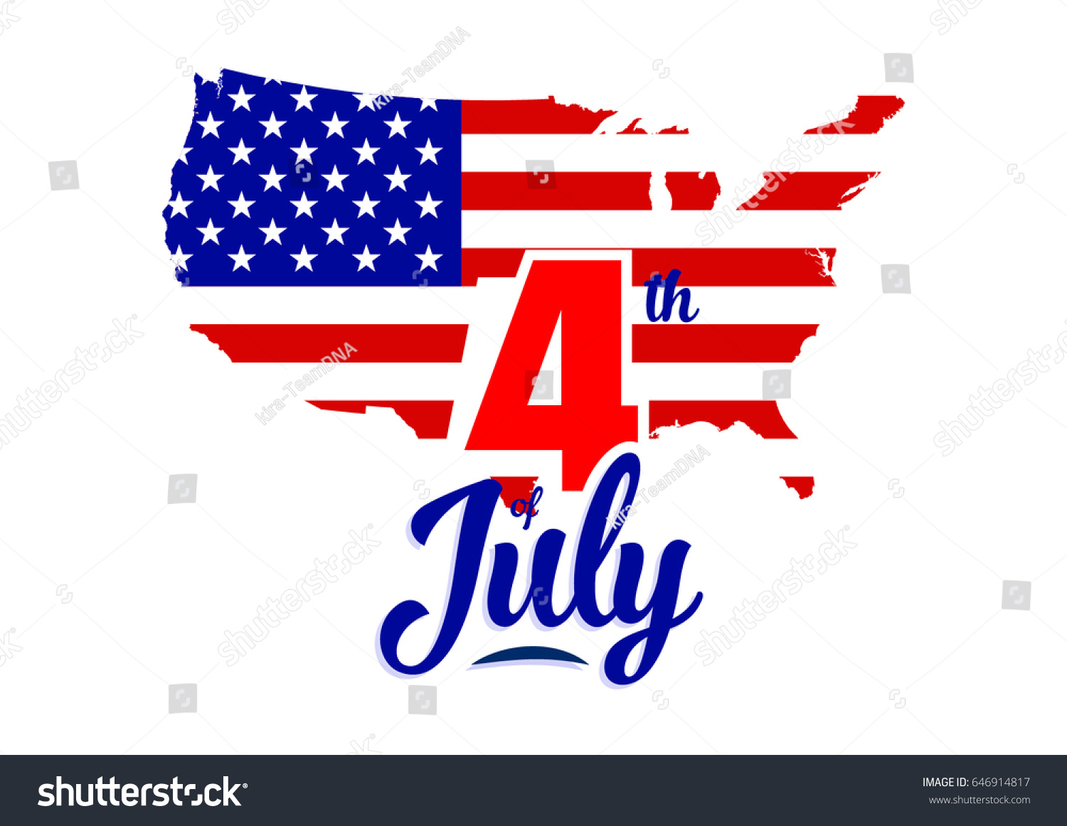 United States Map Independence Day Stock Vector 646914817