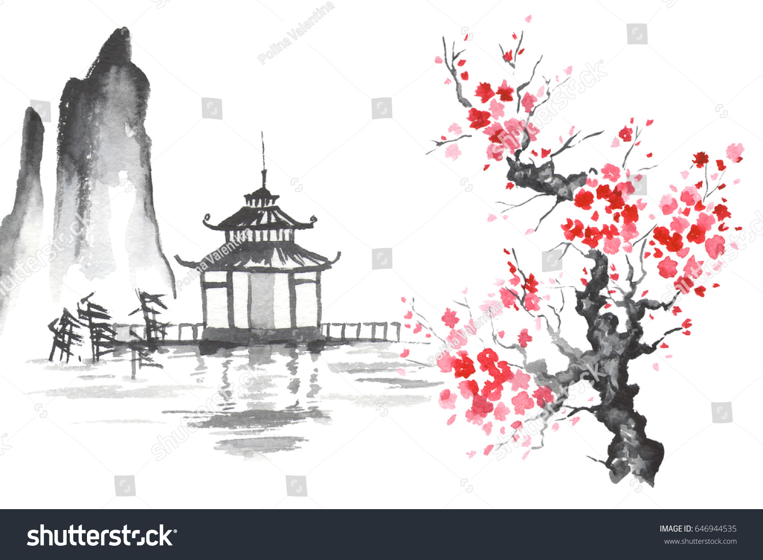 Japan traditional japanese painting sumi e art sakura temple
