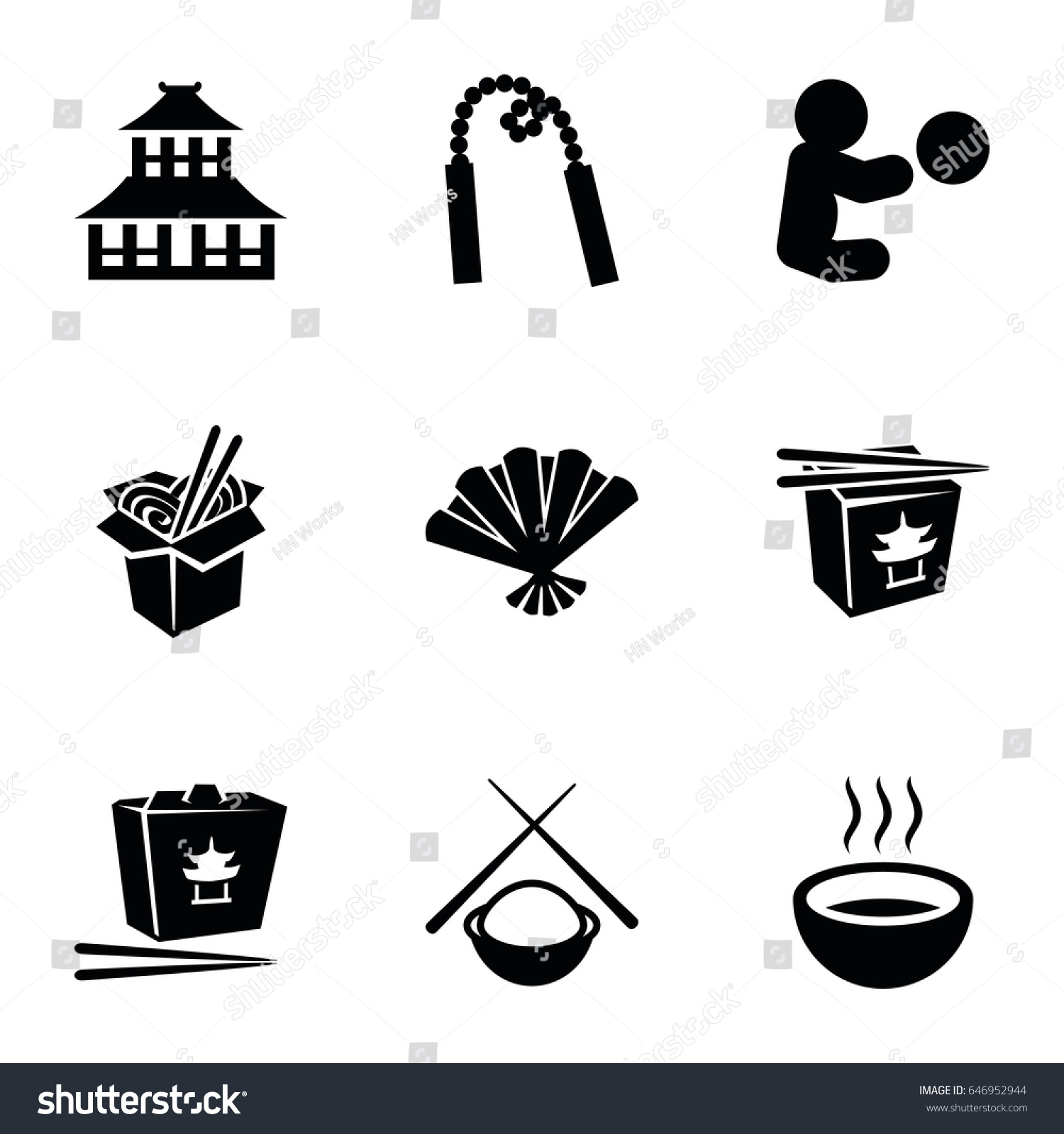 Asian Icons Set Set 9 Asian Stock Vector 2018 646952944 Shutterstock