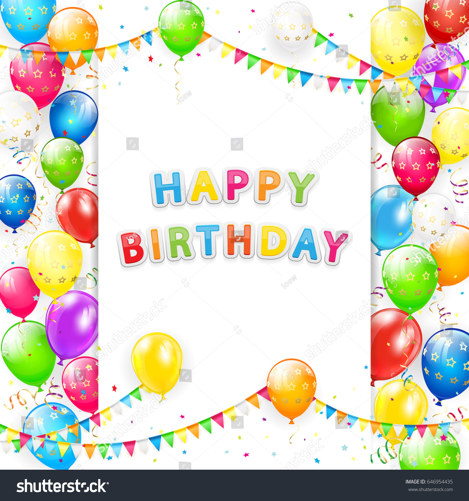 card lettering happy birthday frame flying stock illustration