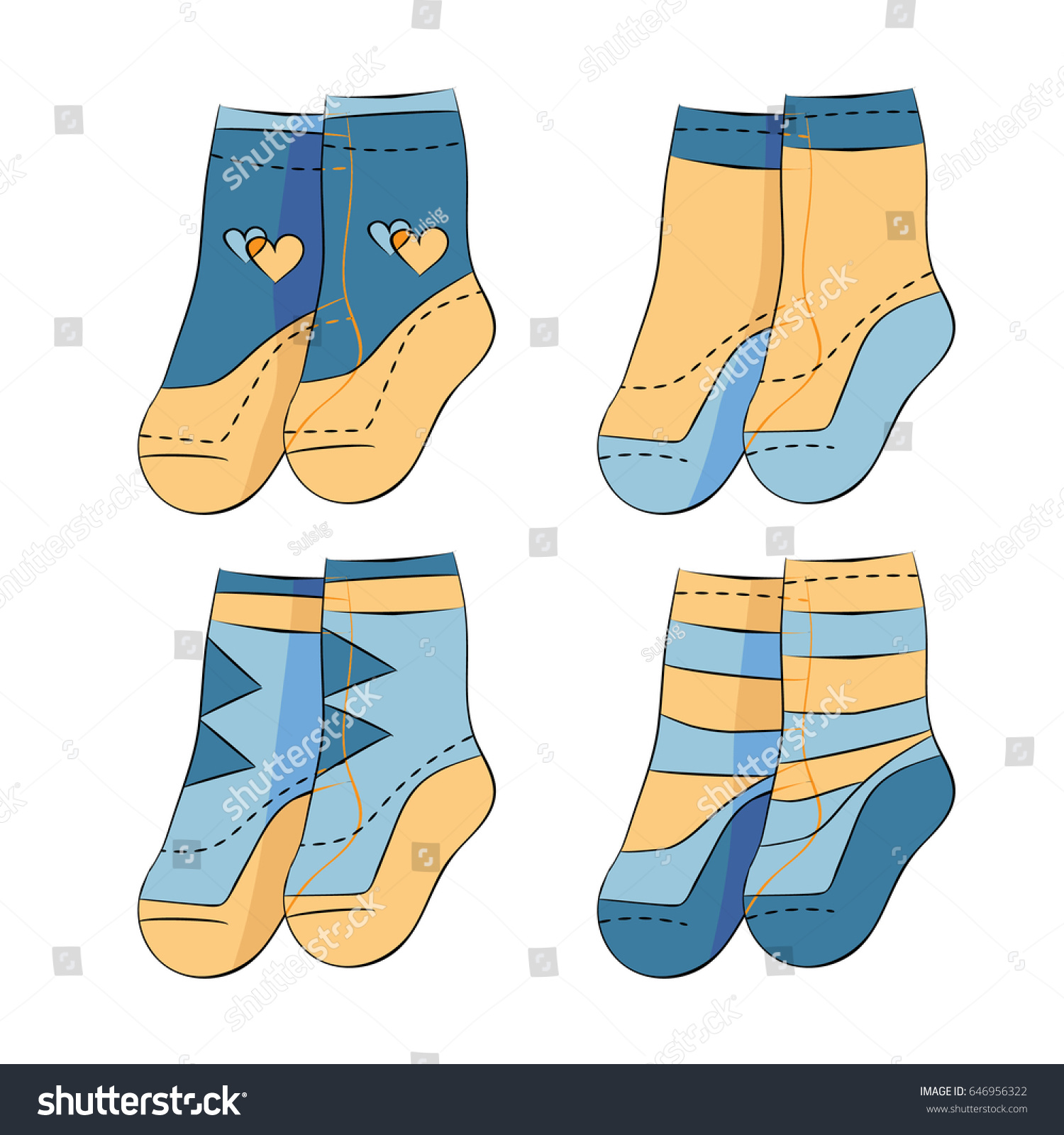 Four Pairs Baby Boy Socks Stock Vector Shutterstock