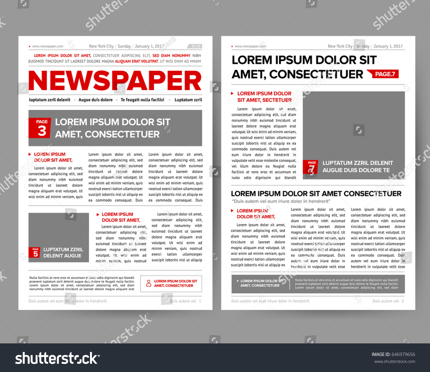 Quotes Journal Daily Newspaper Journal Design Template Twopage Stock Vector