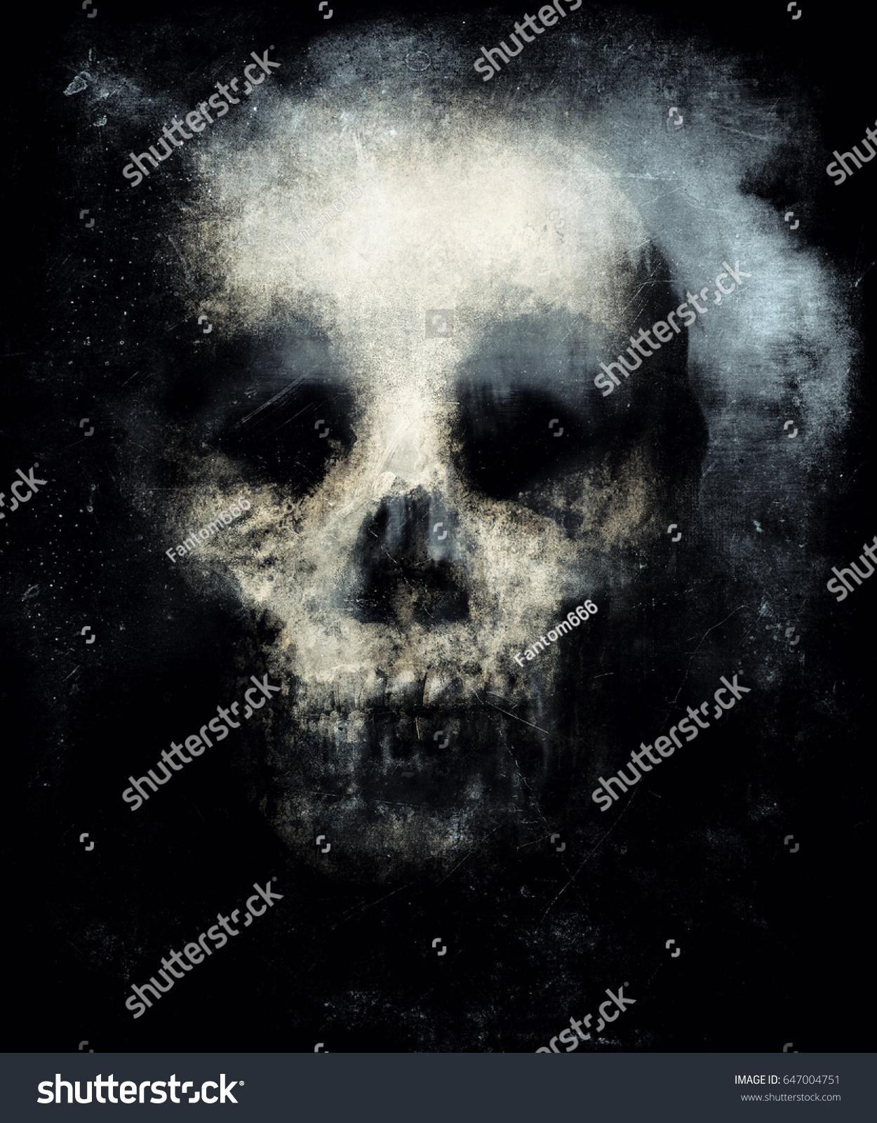 Scary Grunge Skull Wallpaper Halloween Background Stock Illustration 647004751