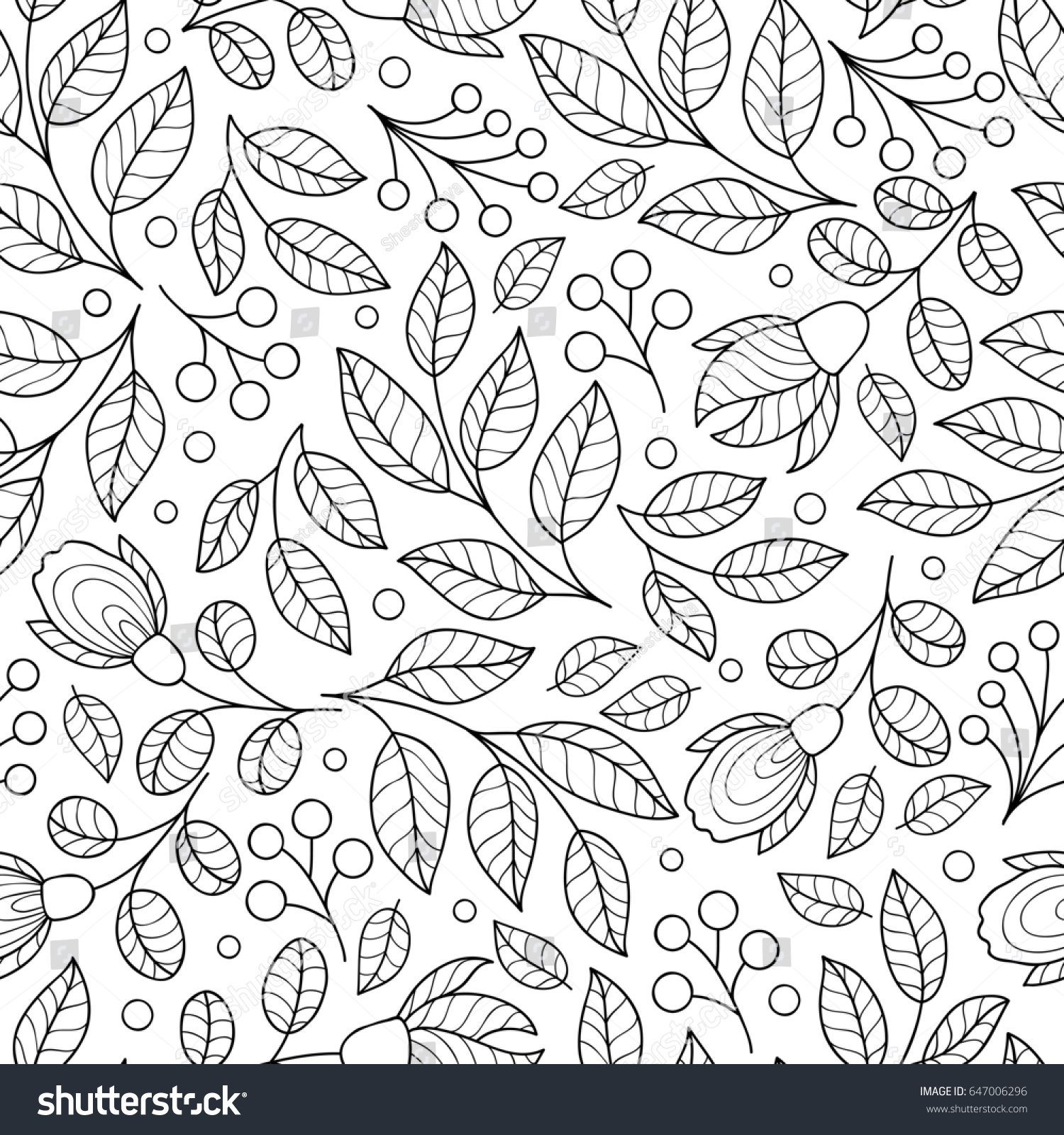 Cute Flower Seamless Pattern Black And White Print With Flowers