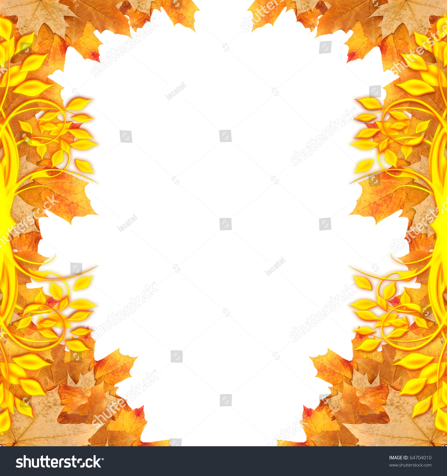 Autumn maple leaves frame with place for text | EZ Canvas