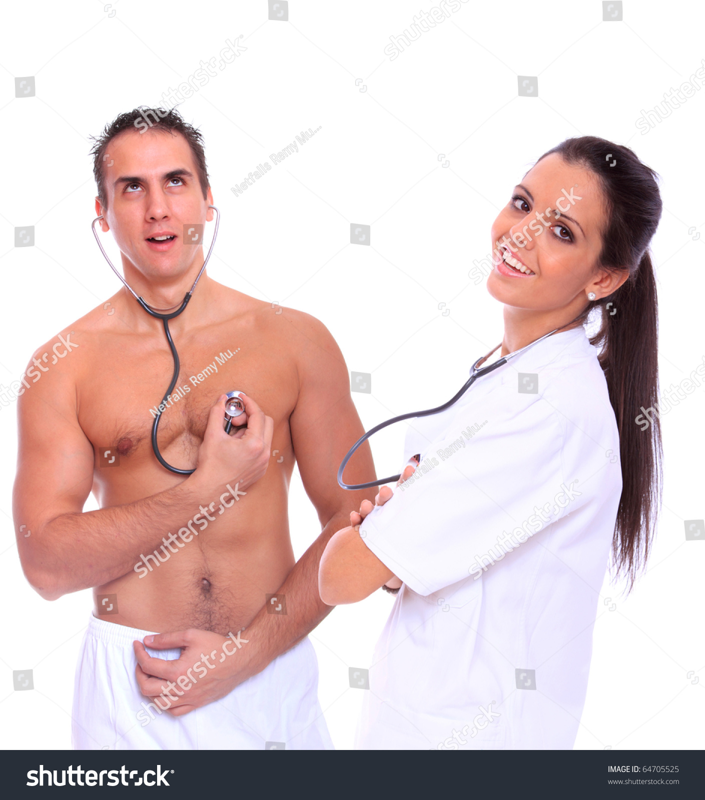 Female Doctor Male Patient Isolated Over Stock Photo -8016