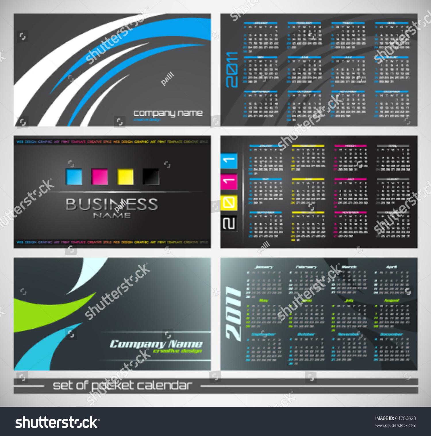Vector Abstract Pocket Calendar Design Template Stock Vector ...