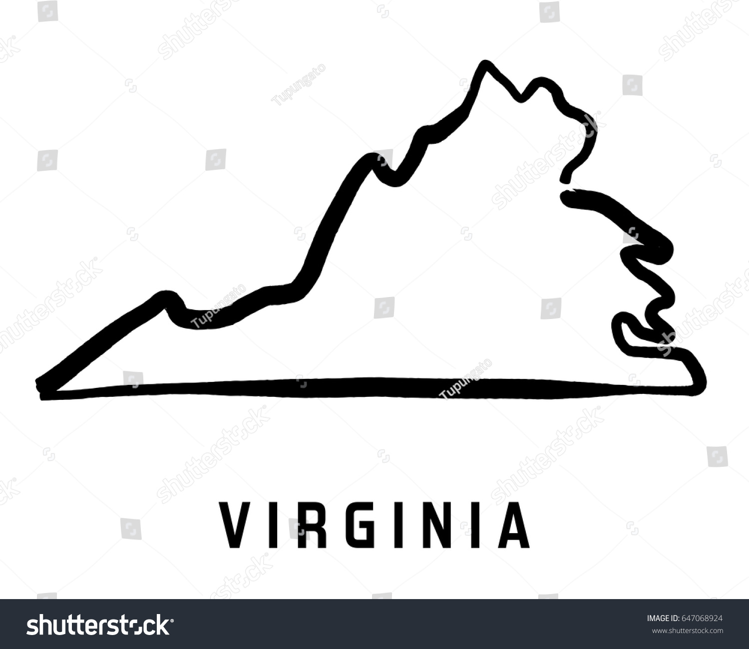 virginia simple logo state map outline smooth simplified us state shape map vector