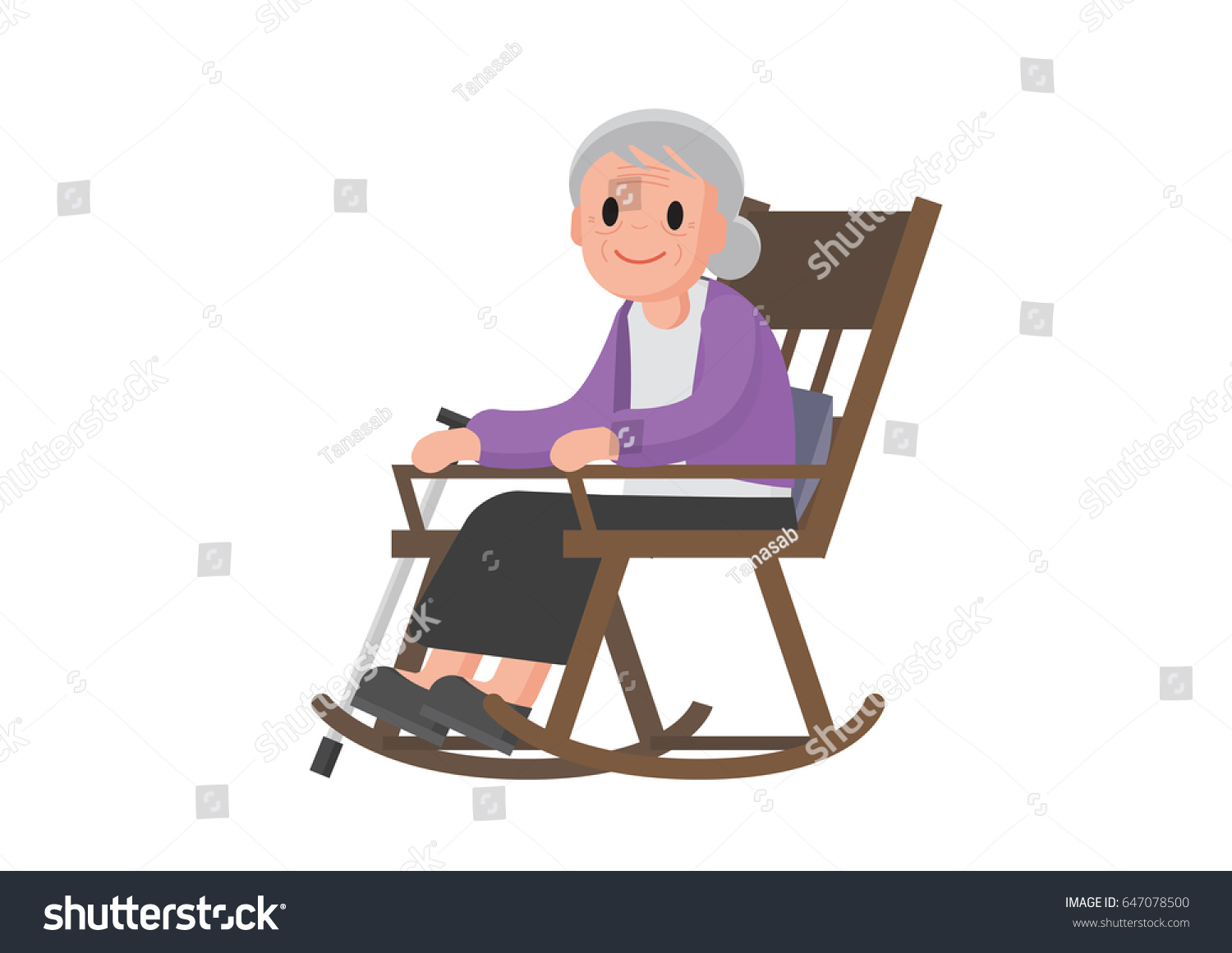 Old woman sitting on rocking chair stock vector