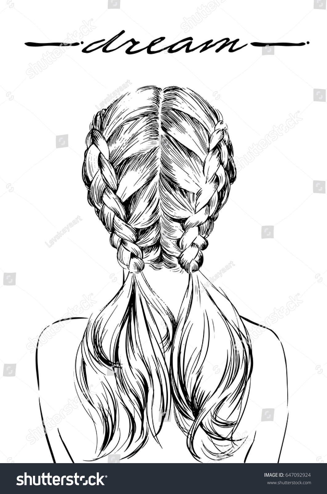 girl back view double french braids stock vector 647092924