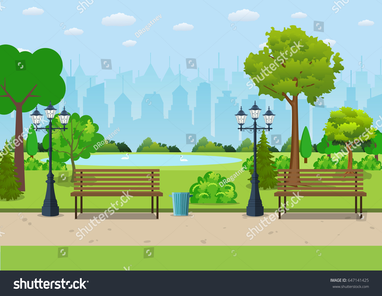 Bench with tree and lantern in the Park. Vector illustration in flat style #647141425