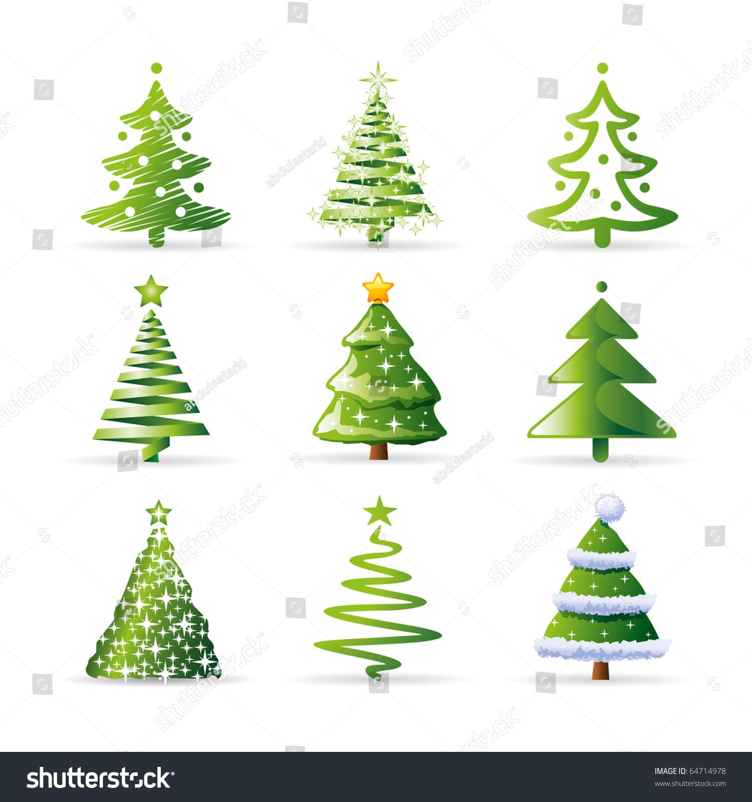 Vector Illustration Tree: Christmas Tree Set Stock Vector Illustration 64714978