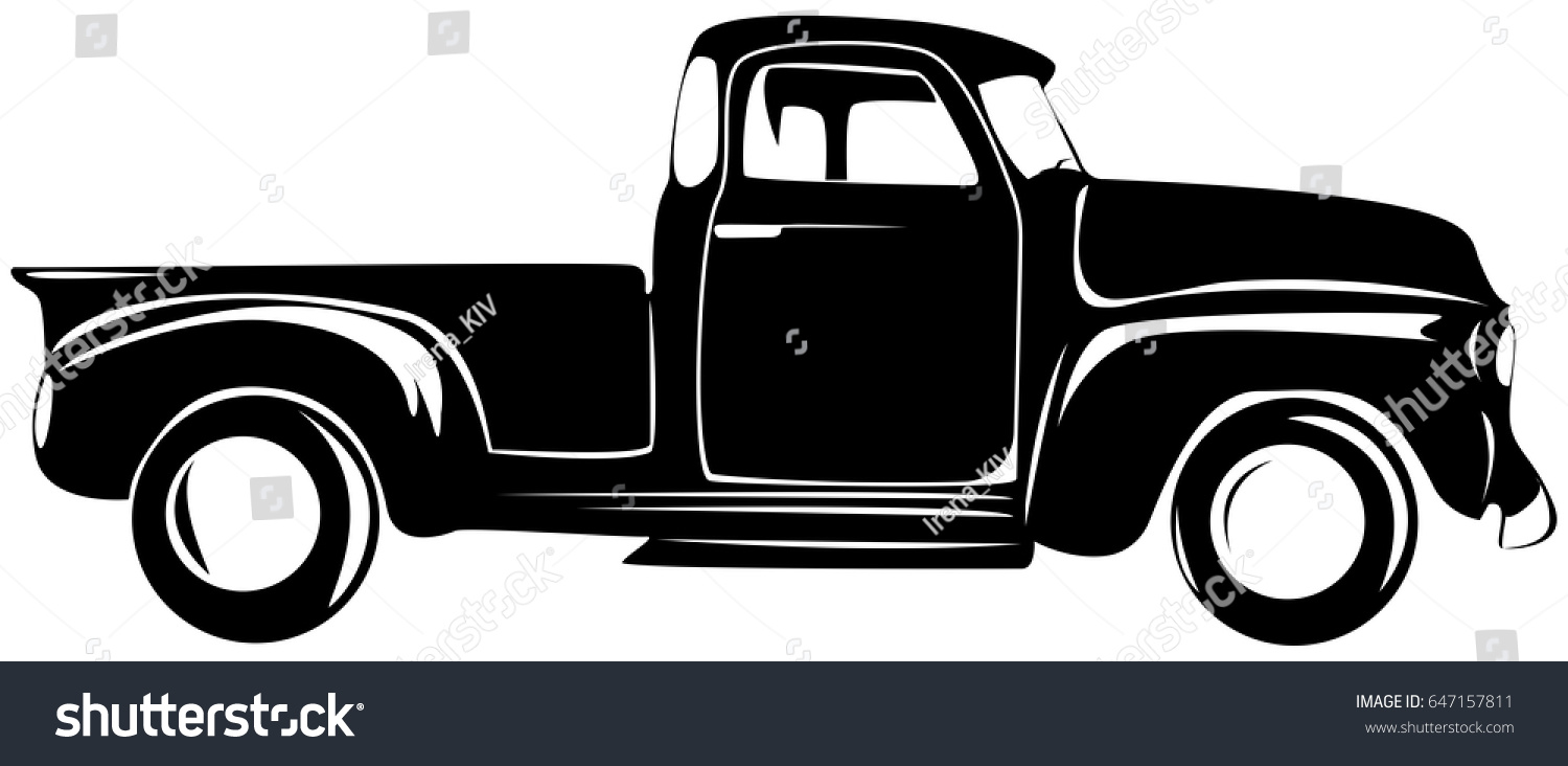 Retro Pickup Truck Old Car Stock Vector 647157811 - Shutterstock