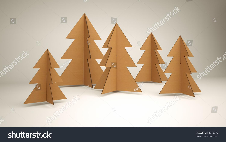 Diy 3d Cardboard Christmas Trees Stock Illustration 64718779