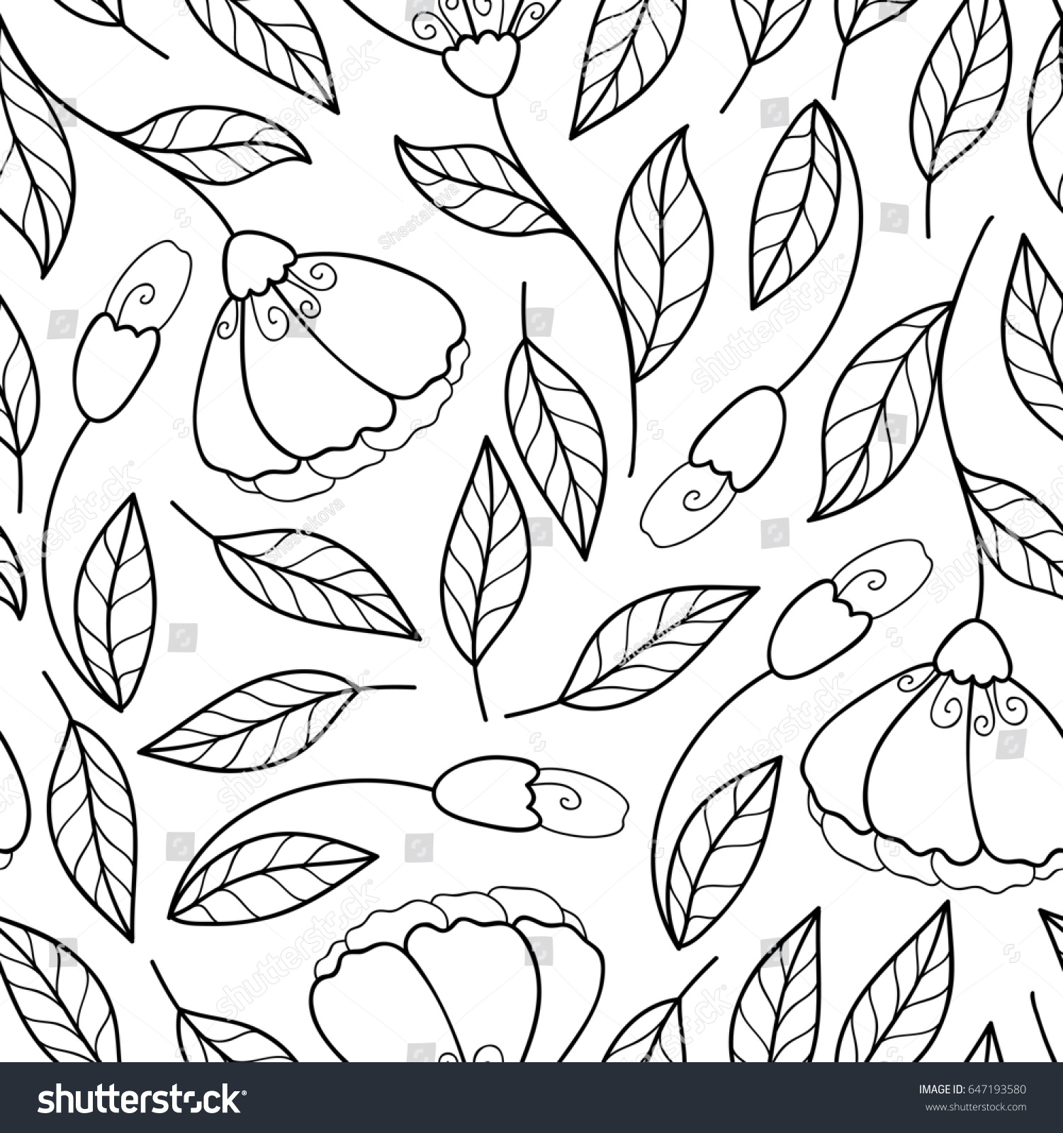 Flower Monochrome Seamless Pattern Black And White Floral Print
