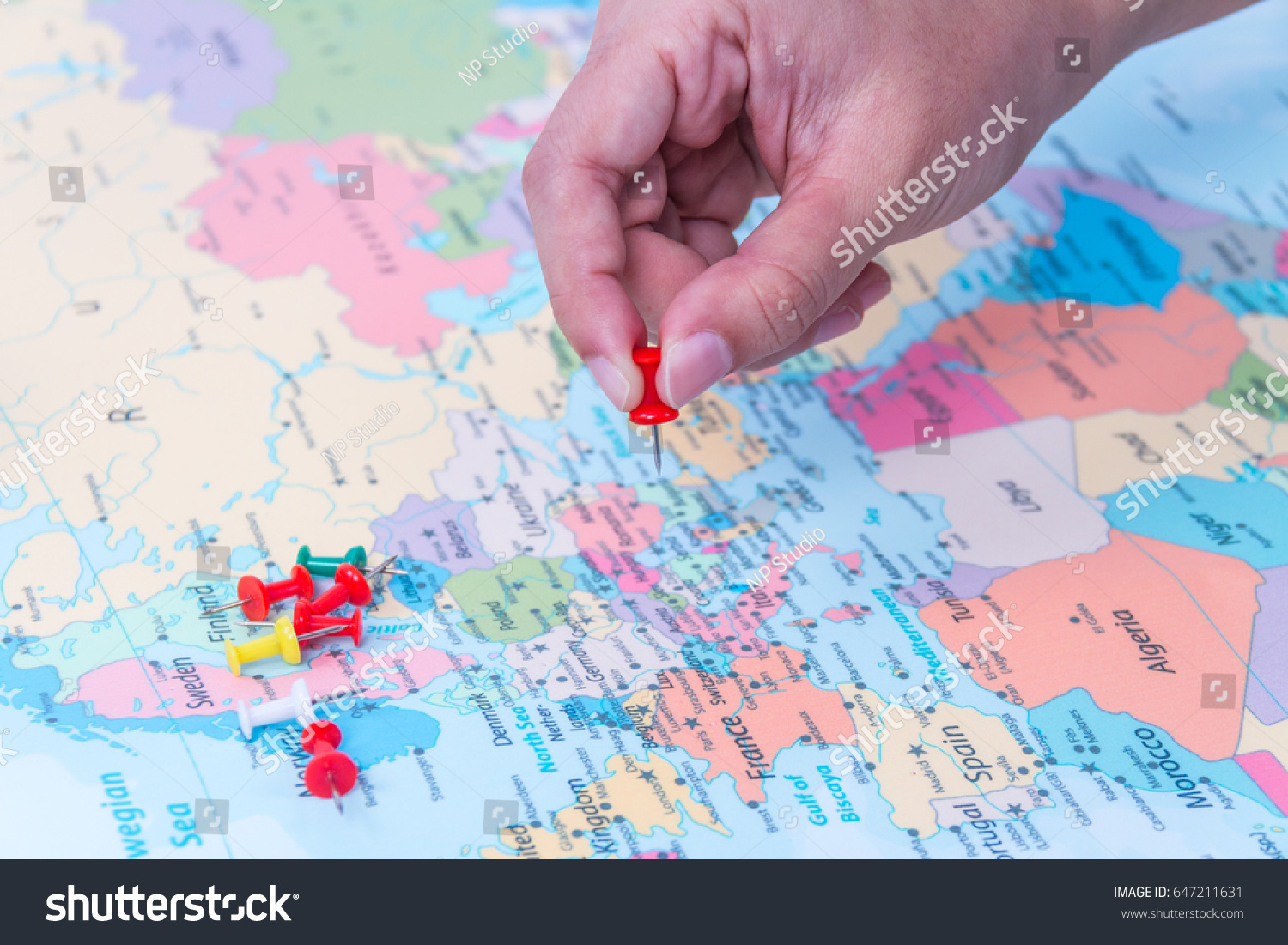 Pins Marking Location On Map Stock Photo (Edit Now) 647211631 ...