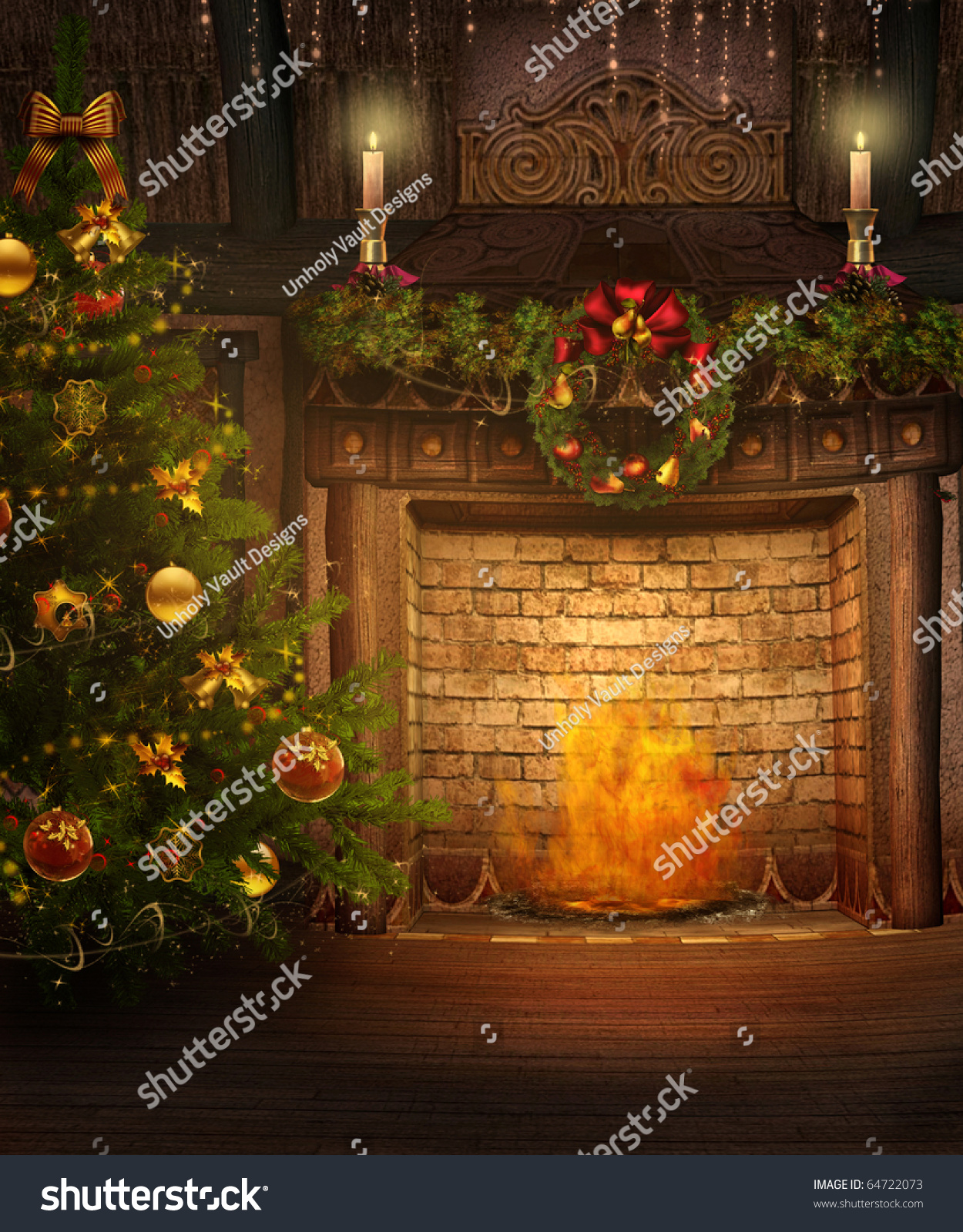 fantasy room christmas tree fireplace stock illustration 64722073