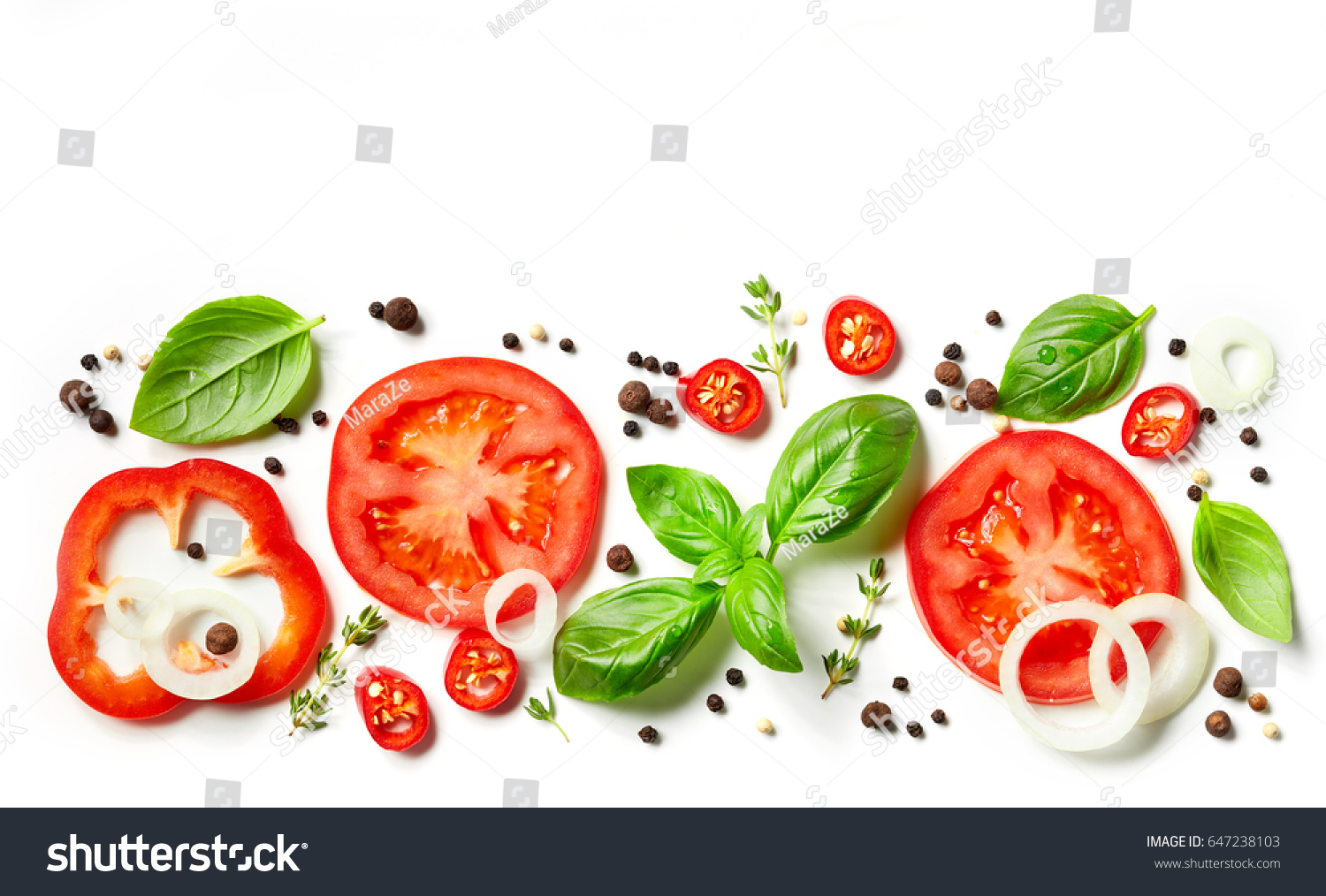 fresh vegetables, herbs and spices isolated on white background #647238103 - 123PhotoFree.com