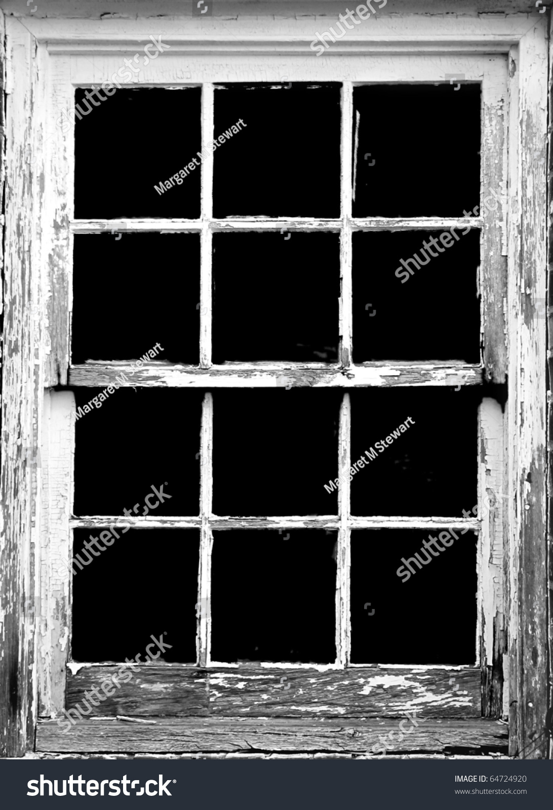 old rotting window frame toned to black and white