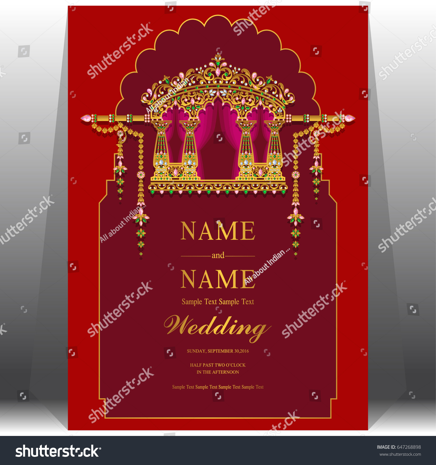Wedding Invitation Card Templates Gold Indian Stock Vector (Royalty ...
