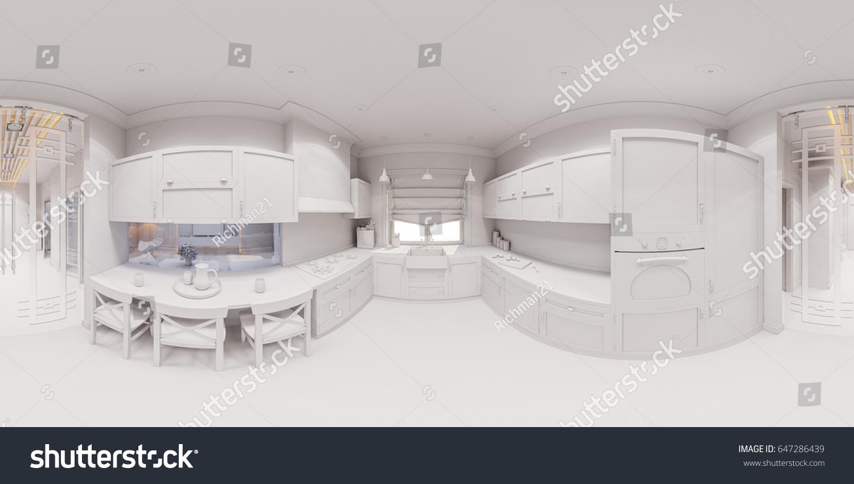 3d Illustration Kitchen Interior Design Scandinavian Stock Illustration  647286439   Shutterstock