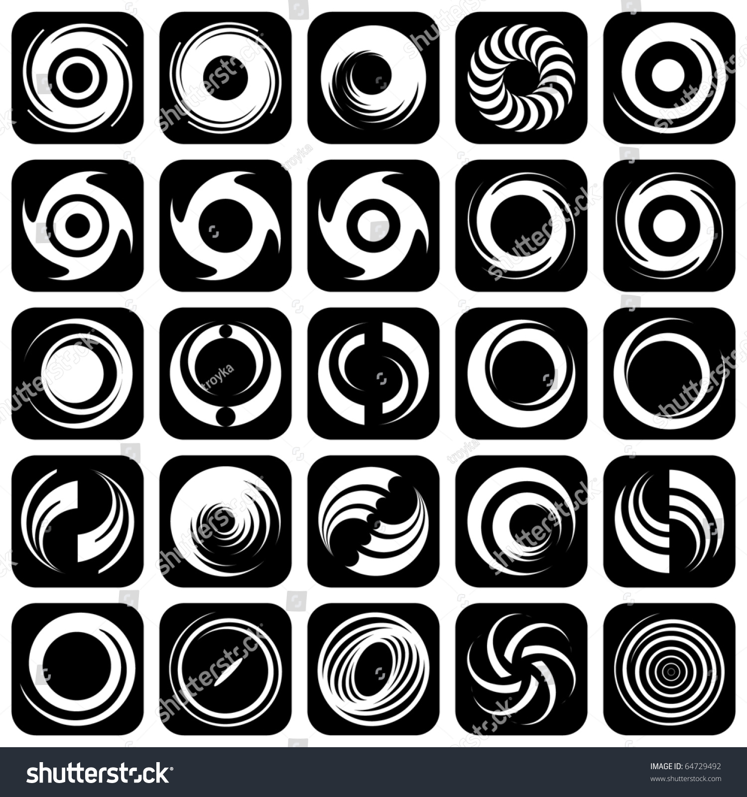 Movement Element Of Art : Spiral movement and rotation design elements set vector
