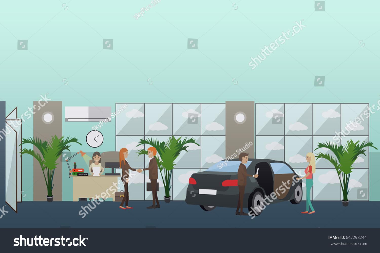Vector Illustration Car Dealer Male Receptionist Stock Vector