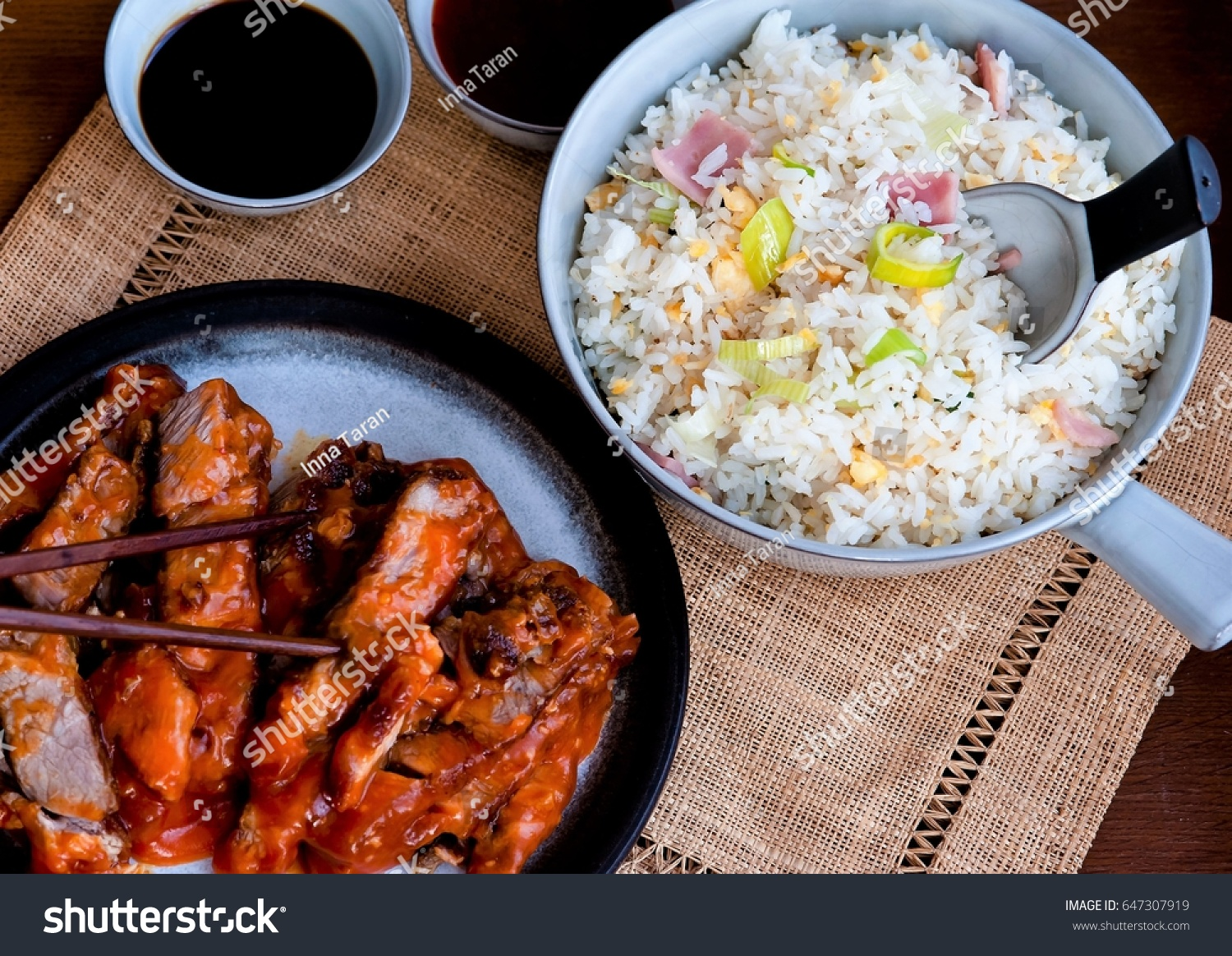 Chinese Dish Consisting Roast Beef Sauce Stock Photo Edit Now Babi Panggang Of In Red Pepper And Rice