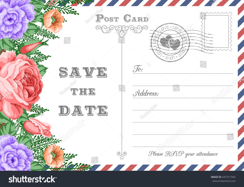 Vintage postcard wedding invitation template flowers stock vector hd vintage postcard wedding invitation template with flowers save the date card vector illustration stopboris Choice Image