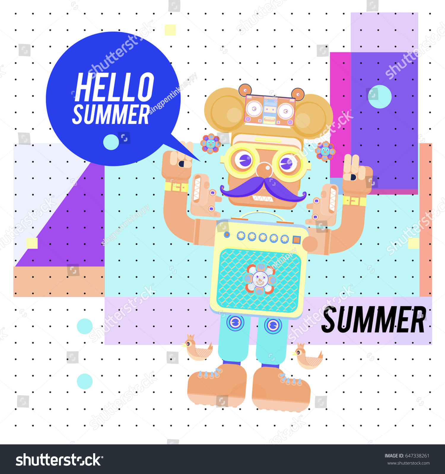 Charmant Trendy Geometric Elements Memphis Summer Greeting Cards Design. Retro Style  Robot Saying Hello Summer.