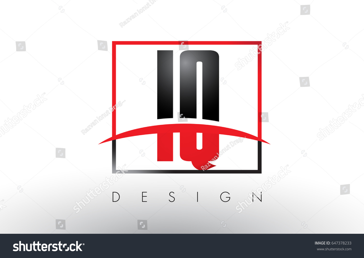 IQ I Q Logo Letters with Red and Black Colors and Swoosh. Creative Letter  Design Vector