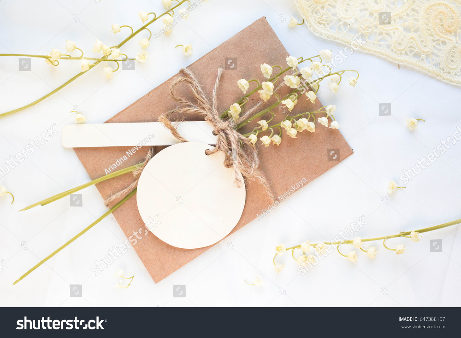 Mockup Postcard Lilies Valley On White Stock Photo 647388157 ...