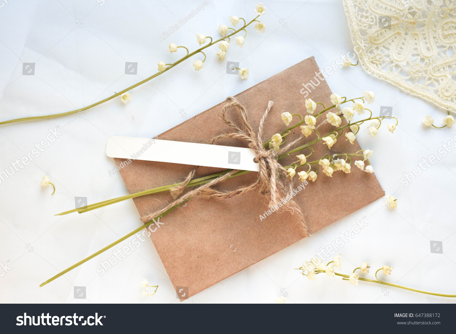 Mockup Postcard Lilies Valley On White Stock Photo 647388172 ...