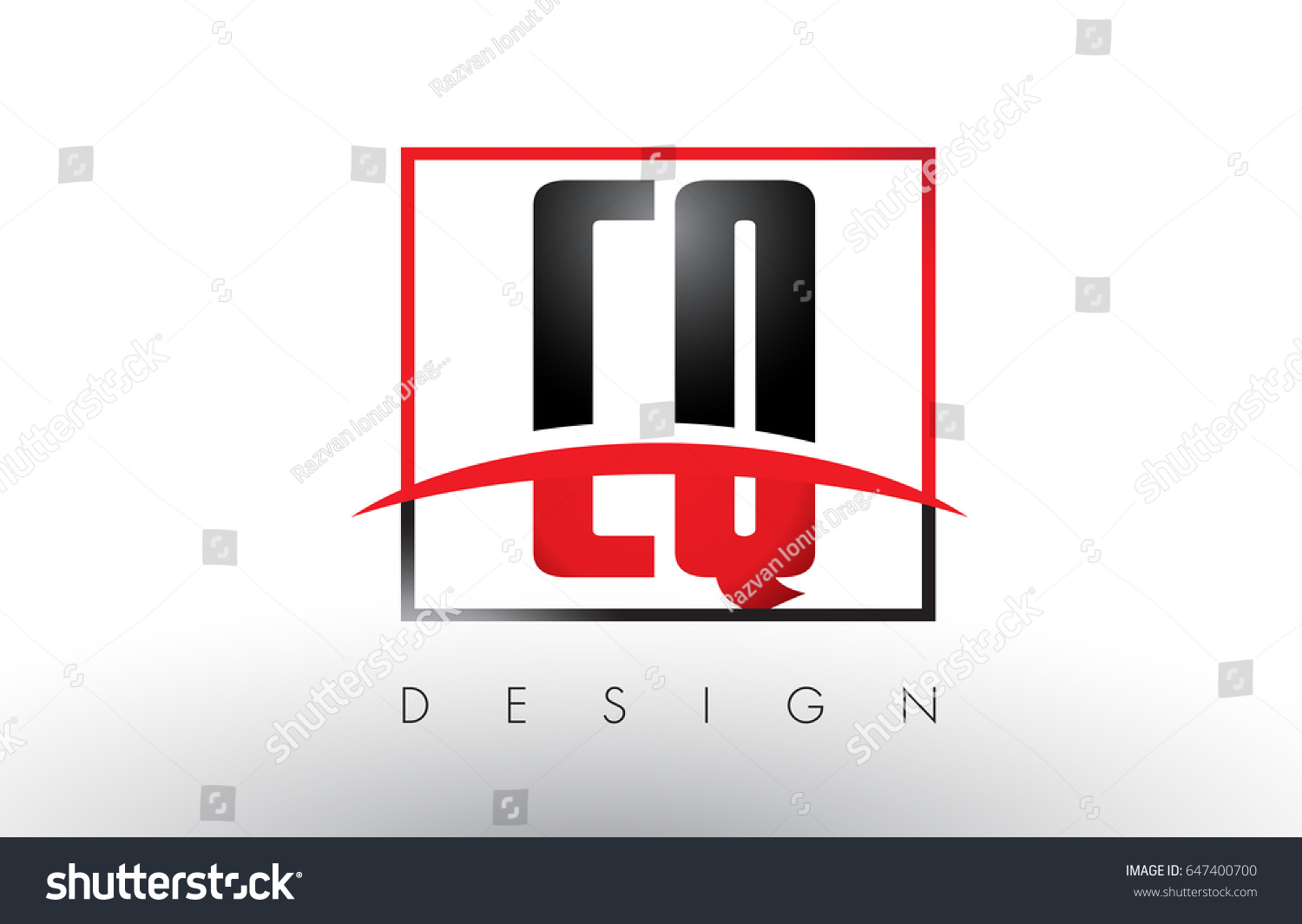 CQ C Q Logo Letters with Red and Black Colors and Swoosh. Creative Letter  Design Vector