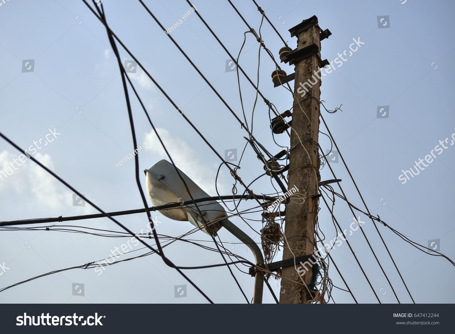 Street Light Messed Wires Stock Photo (Royalty Free) 647412244 ...