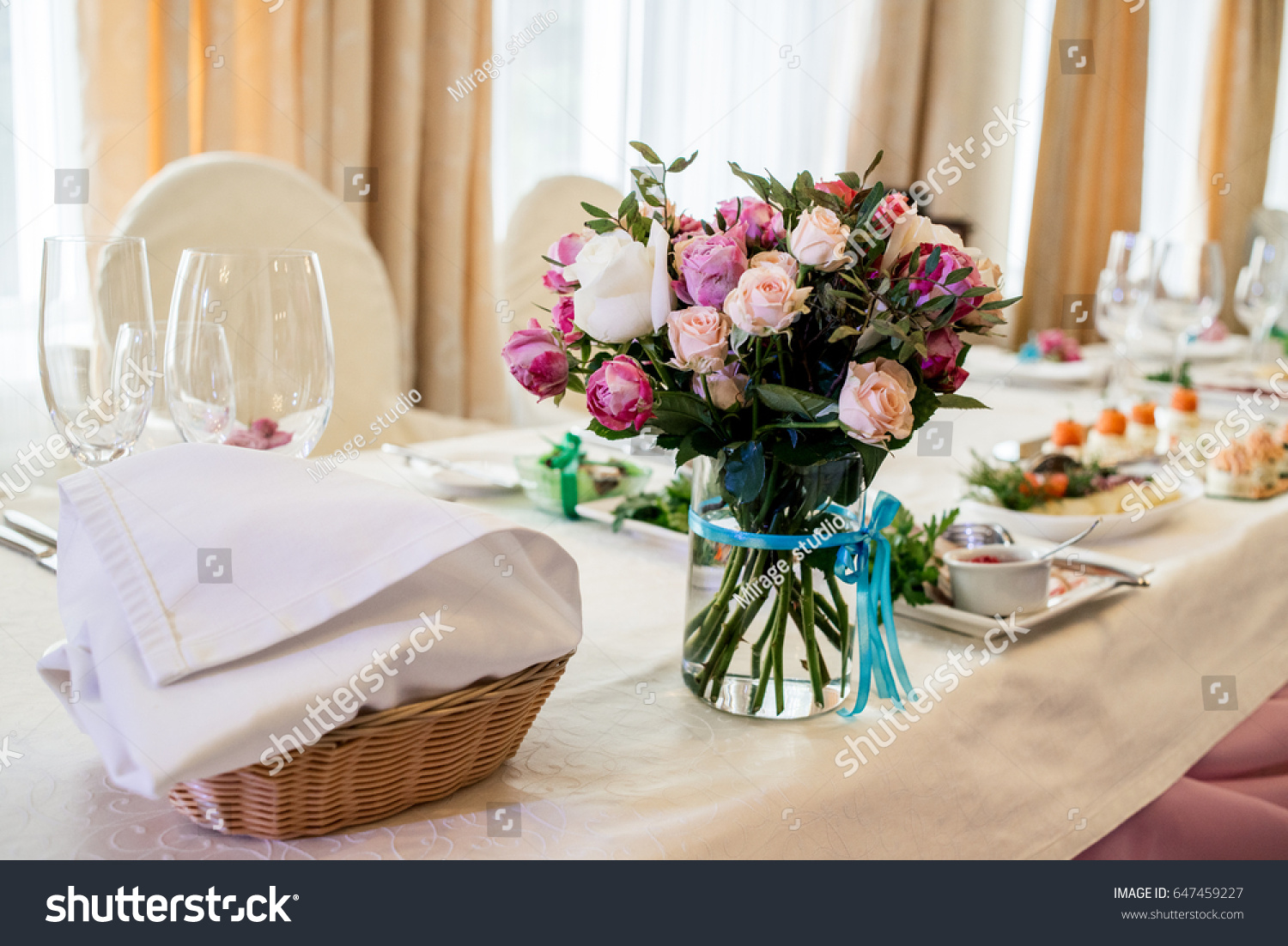 Beautiful Wedding Bouquet Of Cream And Pink Roses In Glass Vase On