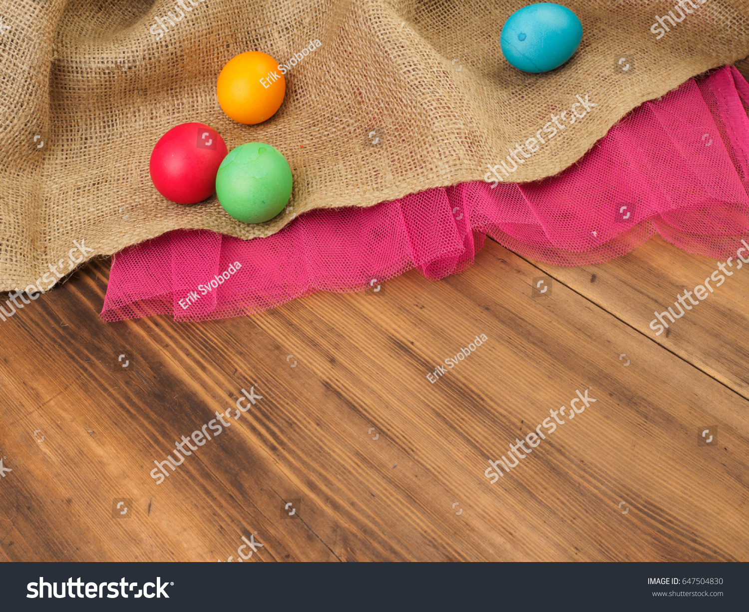 Easter Colored Egg Mock Your Greetings Stock Photo 647504830