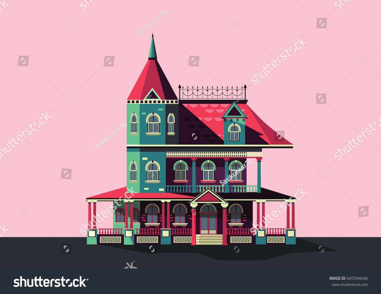 Colorful Vector Victorian Era House Stock Vector (Royalty Free ...