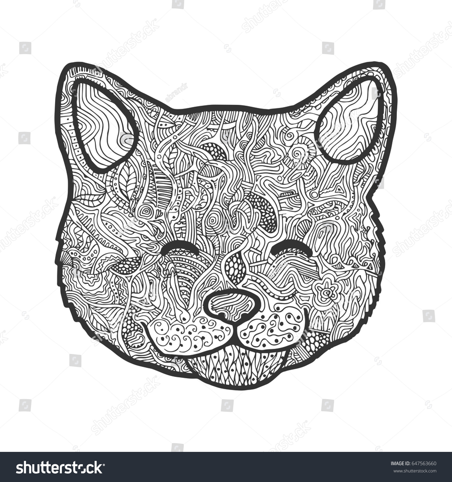 Zen Cats Head Hand Drawn With Abstract Patterns On Isolation Background Coloring Book Page