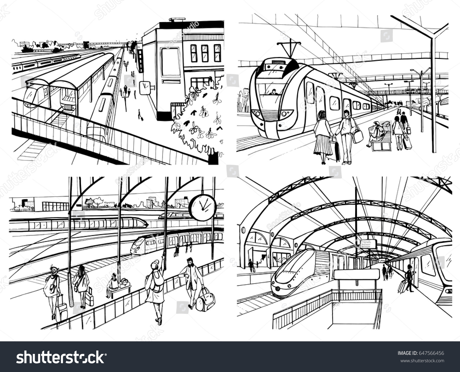 Set of sketches with railway station. Passengers on platform, waiting, arriving and departing train. Hand drawn black and white vector illustration.