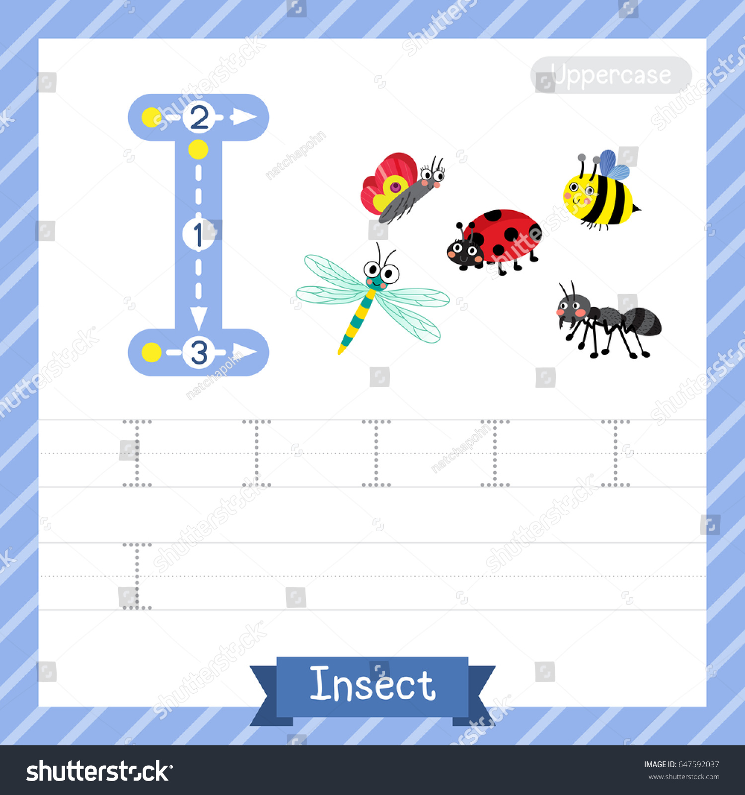 letter uppercase tracing practice worksheet insect stock vector