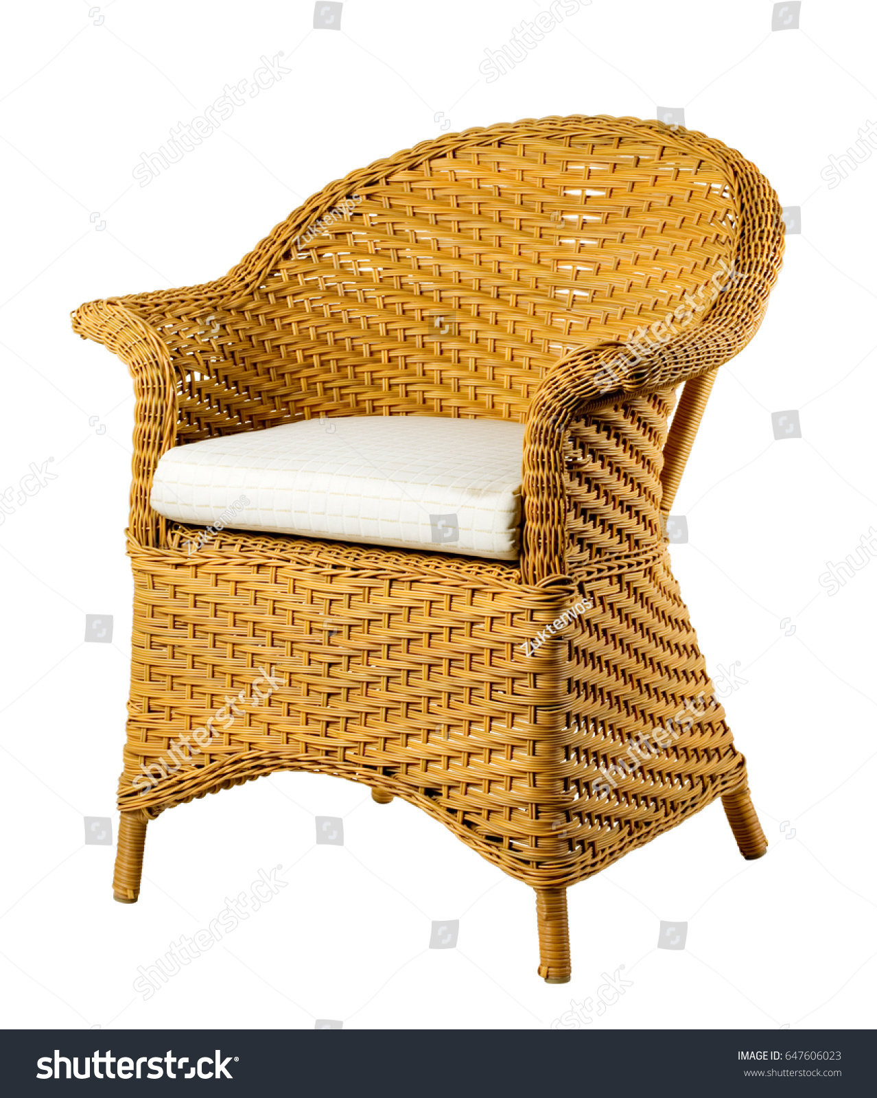 Wicker Chair Isolated White Background Stock